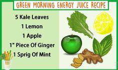 Green Morning Energy Juice Recipe  #Juice #Recipe #Health