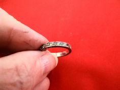 Vintage size 5sterling silver band ring with rhinestones by jeanmc, $15.00
