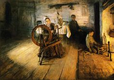 Spinning by Firelight - The Boyhood of George Washington Gray  - Henry Ossawa Tanner, 1894