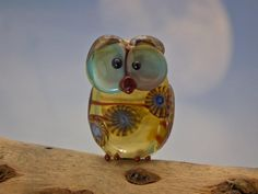 Samson lampwork owl bead by DeniseAnnette on Etsy, $30.00