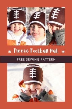 Fleece Football Hat FREE sewing pattern. This is a quick and easy kid's sewing project that will surely make your kid super happy and nice and warm on those cold winter days. It's designed to be made with fleece, which is nice and warm and has a nice stretch to it. It's better if the hat fits snuggly and the Fleece Football Hat is perfect for all sizes of heads. With this hat, there'll be no more air sneaking in to freeze those little ears. Easy Kids Sewing Projects, Sewing For Kids, Free Sewing, Boys Sewing Patterns, Free Pattern Download, Modern Kids, Straight Stitch, Super Happy, Pattern Making
