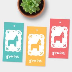 New! Tiny burros gift tags in five colors!