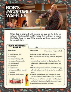 Incredibles 2 Bob's Incredibles Waffles Recipes