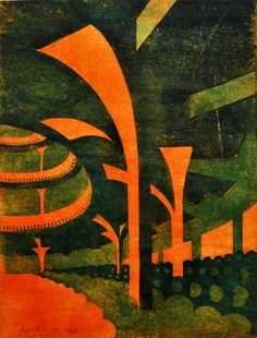 """Theater"" linocut by Sybil Andrews. Tags: Linocut, Cut, Print, Linoleum, Lino, Carving, Block, Woodcut, Helen Elstone, Theatre, Industrial, Buildings."