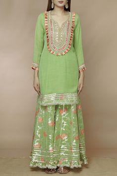 Buy Embellished Kurta Sharara Set by Gopi Vaid at Aza Fashions Silk Kurti Designs, Sharara Designs, Kurta Designs Women, Kurti Designs Party Wear, Dress Designs, Pakistani Fashion Party Wear, Pakistani Dress Design, Indian Fashion, Girls Dresses Sewing