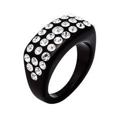 CRISTALUNA RING JULIA BLACK ACRYLIC mit SWAROVSKI®ELEMENTS crystal
