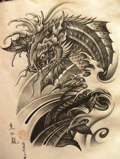60 Awesome Tattoo Designs Men Sleeve Dragon 112 Half Sleeve Tattoos for Men and Women Dragon Tattoo Bazza Koi Dragon Tattoo, Dragon Koi Tattoo Design, Dragon Koi Fish, Koi Fish Tattoo, Japanese Dragon Tattoos, Japanese Tattoo Art, Japanese Tattoo Designs, Tattoo Designs Men, Fish Tattoos