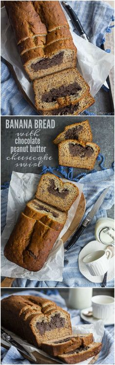 Banana Bread with Chocolate Peanut Butter Cheesecake Swirl- the BEST banana bread I've ever had, and that filling is to-die-for!