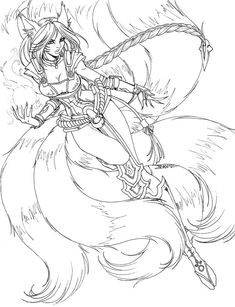 Line art commission for DISC-Photography This is NOT free to colour, it is a commission and as such, belongs solely to the commissioner and myself. Firefox Ahri - LINES Fairy Coloring Pages, Printable Adult Coloring Pages, Coloring Pages To Print, Coloring Books, Character Art, Character Design, Drawing Sketches, Drawings, Bild Tattoos