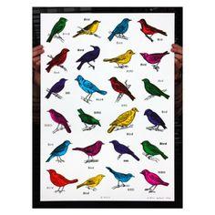 'Birds' screen print by John Dilnot