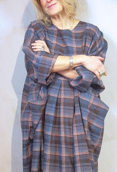 New Baggy Dress, in 'Modern check' linen £295.