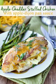 Apple-Cheddar Stuffed Chicken with Apple-Dijon Pan Sauce - Iowa Girl Eats