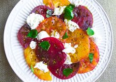 Heirloom tomato caprese with garlic crostini. #DitchtheRecipe