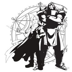 Full Metal Alchemist - Edward and Alphonse Elric Silhouettes by Animenace  via www.redbubble.com