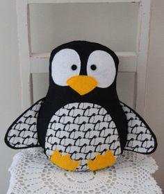 Felt penguin toy in black and white