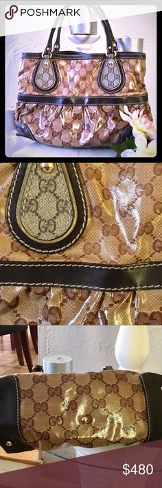 """Authentic Crystal coated Gucci shoulder/handbag Authentic GG crystal coated and leather Gucci monogram shoulder/handbag. Like new condition!  Hand Bag/shoulder bag Materialcrystal Coated Canvas and leather  ColorBrown Size (Inch) (approx)  W 13.4x H 8.7x D 5.3"""" Handle Drop 5.9"""" Inside: Zipper Pocket*1, Pocket*2Country of Manufactur Italy number:  223964. Bundle and save 10% Gucci Bags Shoulder Bags"""
