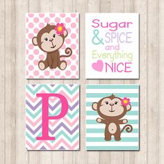 Baby Girl Monkey Pink Sugar Spice Quote Polka by LovelyFaceDesigns