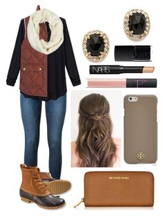 """""""I just want bean boot weather"""" by emmacaseyyyy ❤ liked on Polyvore featuring Frame Denim, L.L.Bean, J.Crew, LA77, Michael Kors, Kate Spade, Tory Burch and NARS Cosmetics"""