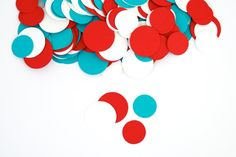 Red and Turquoise Party Decoration Circle by PassTheScissorsShop