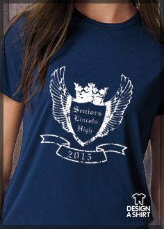 Senior class t-shirt idea with emblem, wings, and crown. See more in our Idea Gallery at www.designashirt.com