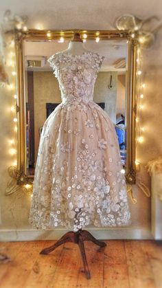 'Tamara' flower embellished Ivory silk tea length wedding dress by Joanne Fleming Design