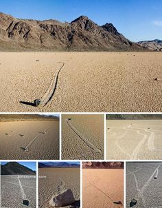 Strange Natural Phenomena - The Sailing Stones of Death Valley - It was recently discovered that, in the winter months, these big rocks move when layers of water and ice begin to melt under them - sending them on a slow slide to a new, sandy destination.
