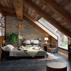 Zen-styled bedroom with plenty of light and beautiful wood finishes. Zen-styled bedroom with plenty of light and beautiful wood finishes. Rustic Master Bedroom Design, A Frame House, Dream Rooms, Modern House Design, Cabin Design, House Rooms, My Dream Home, Home Interior Design, Architecture Design
