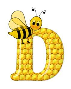 Alphabet letters bee on honeycomb.