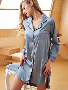 Silk Nightgown, Silk Dress, Boyfriend Shirt Dress, Silk T Shirt, Cotton Sleepwear, Pajamas Women, Slip, Cheap Dresses, Nightwear