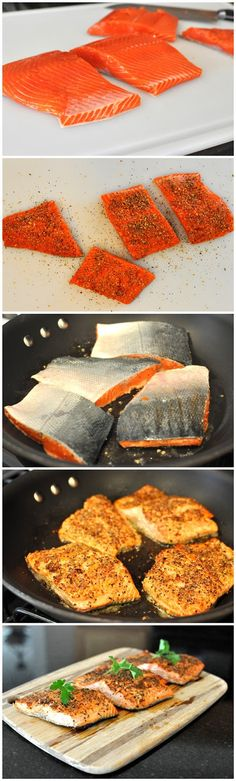 Cooking with Lynn - Pan Seared Peppered Salmon Salmon use to be my go to fish - Salmon fillets, salmon patties, salmon croquettes, smoked salmon, stuffed salmon - anyway you get the pic - Now my go to fish is tilapia!