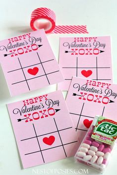 XOXO Tic Tac Toe Valentine Cards...free printable...