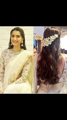 Loved Sonam Kapoor's latest look- especially the hair! Twisted braid, loose curls and mogra could be a great look for your mehend or even wedding! Saree Hairstyles, Indian Wedding Hairstyles, Latest Hairstyles, Sonam Kapoor Hairstyles, Indian Hairstyles For Saree, Bollywood Hairstyles, Loose Hairstyles, Waterfall Hairstyle, Floral Hair