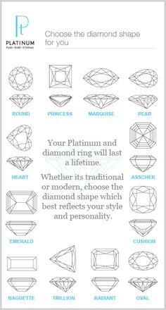 A platinum ring will last a lifetime. Choose the diamond shape that best reflects your style and personality.