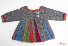 Free crochet pattern Sweater pattern but I'm going to make into a coat or a dress. Eloise Baby Sweater :: free pattern in mths, mths, and Baby toddler Baby Sweater Patterns, Baby Patterns, Knitting Patterns, Crochet Patterns, Crochet Girls, Crochet Baby Clothes, Crochet For Kids, Crochet Gratis, Free Crochet