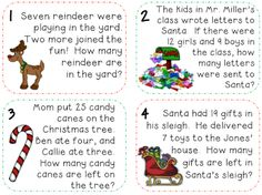 Christmas Math Word Problems! FREE. Perfect December math station for K-2 students or could use these for Problem of the Day. Great Christmas math activity!