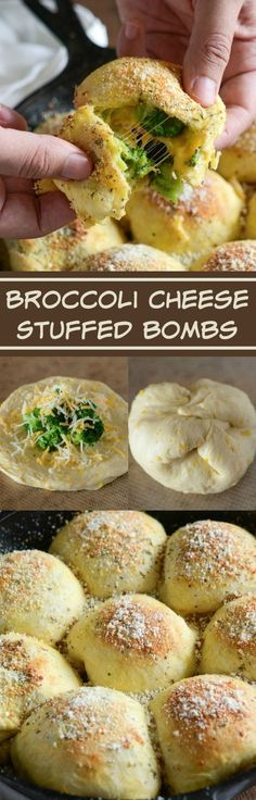 Broccoli Cheese Bombs! Biscuit dough is stuffed with broccoli and cheese and topped with seasoned butter and parmesan cheese!