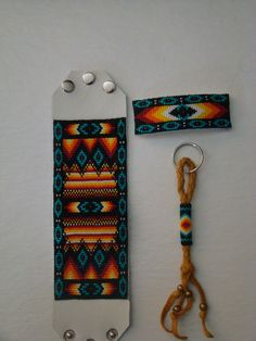 Beaded Leather Bracelet, Barrette, and Keychain set