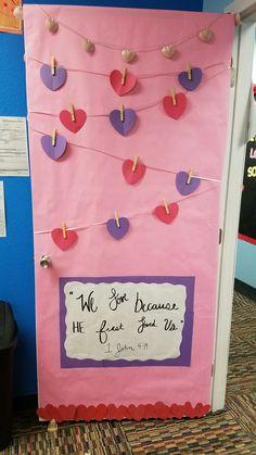 Valentines hanging pictures door