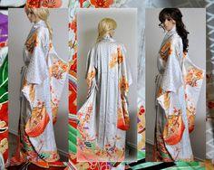 Heian Lady Japanese Kimono Robe Silk Floral Long by EventOutlet