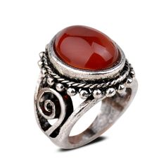 Smile_Jewelry Tibetan Silver Oval Red Jade Carved Women Party #6.5 8 9 Ring Gem Jewelry 6.5