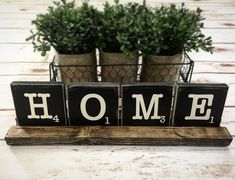Rustic over-sized Scrabble tiles with wooden tray farmhouse style faith home love hope etc. Cottage Signs, Cottage Chic, Diy Projects Cans, Craft Projects, Tile Saw, Scrabble Tiles, Faith In Love, Table Signs, Craft Items