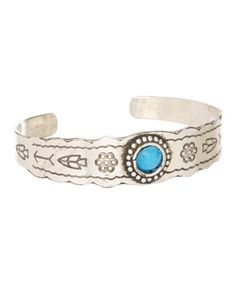 Another great find on #zulily! Silvertone & Turquoise Tribal-Embossed Cuff #zulilyfinds