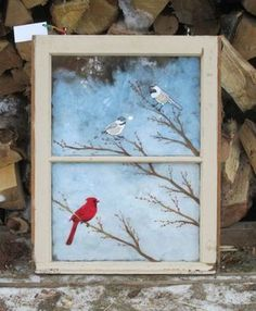 Tookybird 3 Birds Painted Window by on Etsy Old Windows Painted, Painted Window Panes, Vintage Windows, Window Frames, Painted Windows For Christmas, Painting On Glass Windows, Window Paint, Window Glass, Old Window Projects