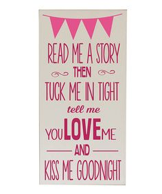 Take a look at this Cream  Pink 'Read Me A Story' Wall Art by Vinyl Crafts on #zulily today!