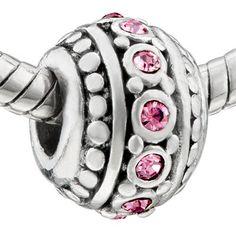 TOPSELLER! Pugster Light Pink Stripe Swarovski Crystal Bead Fit Pandora Chamilia Biagi Charm Bracelet $9.99