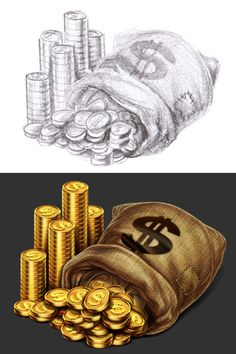 """Money bag The development of objects for the game slot-machine """"Wild west"""""""