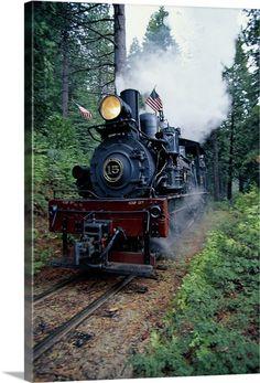 Old fashioned train Wall Art, Canvas Prints, Framed Prints, Wall Peels | Great Big Canvas #a train Canvas Wall Art, Wall Art Prints, Framed Prints, Canvas Prints, Big Canvas, Paper Train, Train Art, Train Illustration, Steam Locomotive