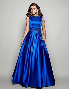 Vestido de Noche de Satén Azul @ Vestidos de Fiesta Baratos