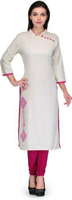 White embroidery kurti Salwar Pattern, Kurta Patterns, Dress Patterns, Churidar Designs, Kurti Neck Designs, Blouse Designs, African Fashion, Indian Fashion, Modele Hijab