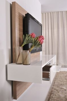 floating tv units | ODE2U - Floating TV unit product gallery Tv In Bedroom, Bedroom Tv Unit Design, Bedroom Tv Cabinet, Floating Tv Cabinet, Floating Tv Stand, Floating Wall Unit, Floating Media Console, Floating Nightstand, Floating Shelf Under Tv